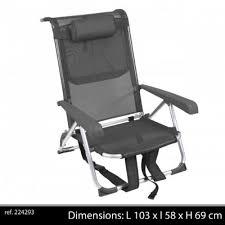 fauteuil dos fauteuil chaise longue a dos aluminium transportable a sangle