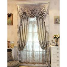 beige floral embossed embroidery chenille shabby chic valance curtains