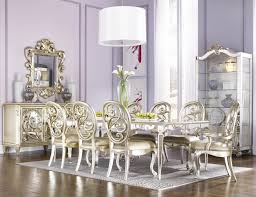 Luxury Dining Room Set Jessica Mcclintock Couture Nine Piece Mirrored Leg Table And