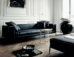 Large Black Leather Sofa Living Room Modern Contemporary Black Leather Sofa Living Room