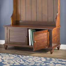 brown full entryway cabinet storage bench hall tree home living