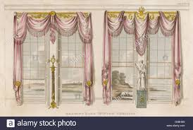 drawing room window curtains in the classical style with heavy