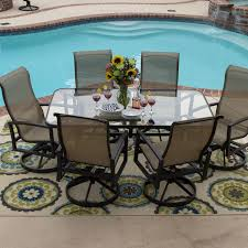 Living Spaces Dining Sets by Acadia 7 Piece Sling Patio Dining Set With Swivel Rockers And