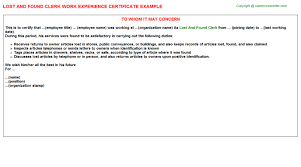 Free Sle Letter Of Employment Certification Lost And Found Clerk Work Experience Certificate