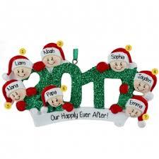 grandparents with 5 grandkids ornaments