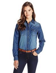 wrangler women u0027s western denim shirt at amazon women u0027s clothing store