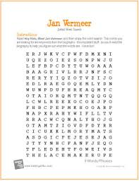 jan vermeer free word search worksheet http makingartfun com