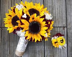 wedding flowers sunflowers sunflower bouquet etsy