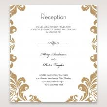 reception card gold on white trifold card with pocket for enclosures