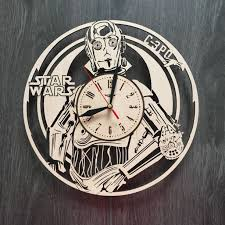 c3po wall wood clock star wars home decor wood wall art rustic