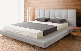 Low Profile King Size Bed Frame Size Bed With White Leather Headboard And There Are Storage