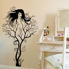 creative diy tree branches girl sitting room bedroom background undefined