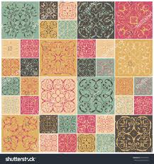 tiled halloween background patchwork design colorful square tiles floral stock vector