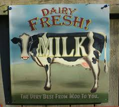 dairy fresh milk tin metal sign country kitchen farm decor cow