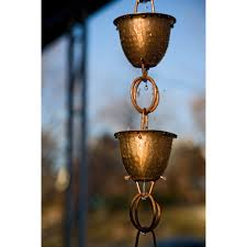 Extension Chain For Chandelier Monarch 8 5 Ft Copper Hammered Cup With Ring Rain Chain Hayneedle