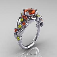 nature inspired engagement rings nature inspired 14k white gold 1 0 ct orange and yellow sapphire