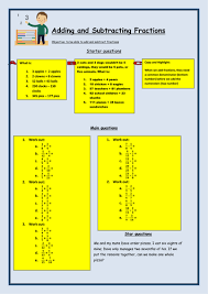 adding and subtracting fractions worksheet by bcooper87 teaching