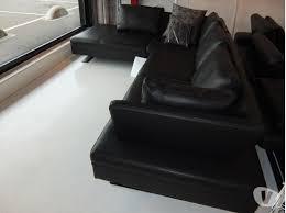 canapé d angle pas cher occasion canapé d angle 5 places boxieblanc cuir pleine fleur noir