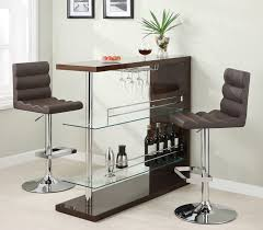 Mini Bar Table Furniture Minimalist Brown Mini Bar Vchairs Matched With Green
