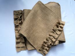 burlap table runner with ruffles rustic chic home decor rustic