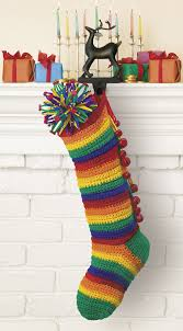 crocheted christmas stockings pom poms