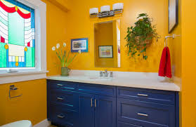 blue kitchen cabinets and yellow walls 75 beautiful bathroom with blue cabinets and yellow walls
