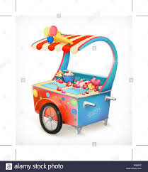 tricycle cartoon cart with ice cream icon cartoon style stock vector art