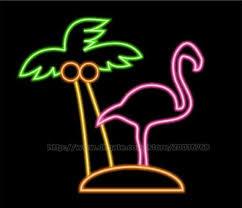 palm tree neon light flamingo palm tree neon sign motel club sign display advertisement