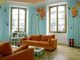 awesome blue and orange living room charming interior decoration