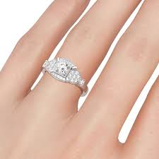 shaped engagement ring milgrain fish shaped cut white cubic zirconia vintage