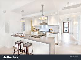 modern kitchen interior day time way stock photo 527880829 modern kitchen interior at day time with a way to go to an outside door on