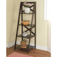 mainstays leaning ladder 5 shelf bookcase espresso walmart com
