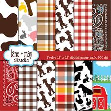 digital scrapbook papers farm theme patterns instant