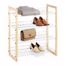 3 Shelf Wire Rack 4 Shelf Closet Shoe Rack With Natural Wood Frame And Chrome Wire