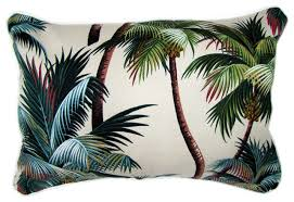 sanctuary palm trees fabric cushion tropical decorative
