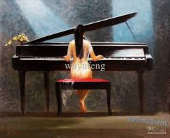 2018 woman playing the piano handcraft portrait oil painting on canvas185 from wuyufeng 43 28 dhgate com