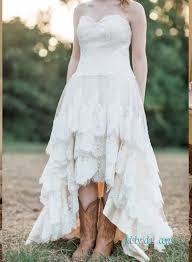 high low wedding dress h1250 strapless bohemian high low wedding dress with tiered skirt