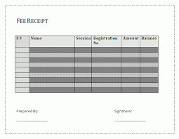 fee receipt template free business templates