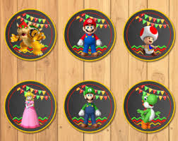 mario cake toppers mario brothers cupcake toppers etsy