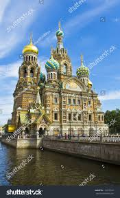 st petersburg russia cathedral resurrection jesus stock photo