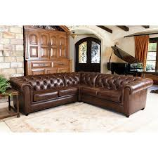 Brown Leather Sectional Sofas by Abbyson Tuscan Top Grain Leather 3 Piece Sectional Sofa Hayneedle