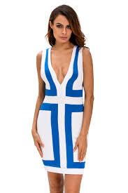 light blue sleeveless dress light blue white color block v neck sleeveless dress