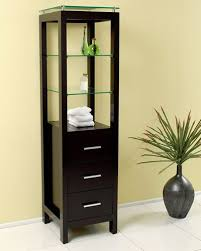 tempered glass shelves for kitchen cabinets fresca espresso bathroom linen side cabinet w 3 tempered glass shelves