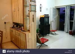 interior of indian urban living room cupboard india stock photo