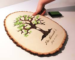 wedding registry books fingerprint tree design wood slice rustic theme wedding