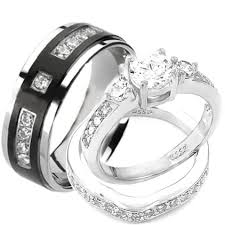 wedding ring sets wedding rings set his and hers titanium sterling silver