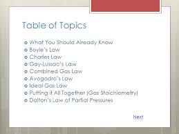 table of topics what you should already know boyle s law charles law