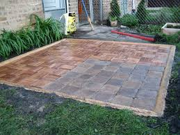 laying patio pavers over grass patio outdoor decoration