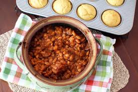 homemade barbecued baked beans with spicy sausage