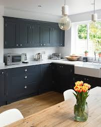 Black Shaker Kitchen Cabinets Black Shaker Kitchen Cabinets Farmhouse With Pendant